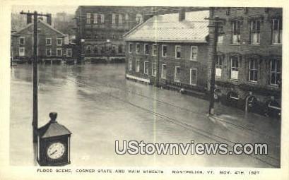 Flood, Corner State & Main St, Nov 4, 1927 - Montpelier, Vermont VT Postcard