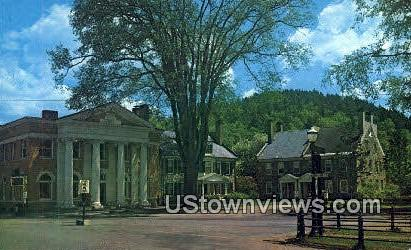 Savings Bank & Stone Houses - Woodstock, Vermont VT Postcard