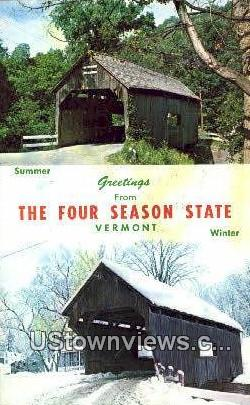 Old Covered Bridge - Warren, Vermont VT Postcard