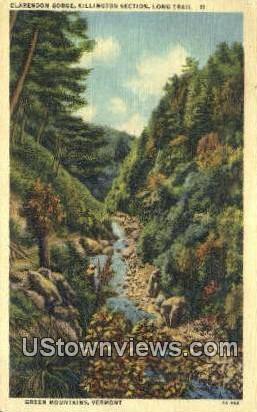 Clarendon Gorge, Killington Section - Green Mountains, Vermont VT Postcard