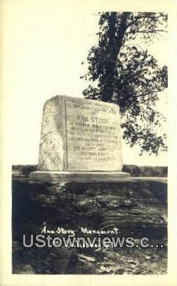 Real Photo - Ann Story Monument - Salisbury, Vermont VT Postcard