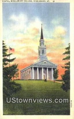 Chapel, Middlebury College - Vermont VT Postcard
