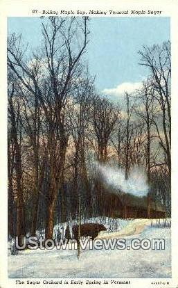 Boiling Maple Sap, Maple Sugar - Misc, Vermont VT Postcard
