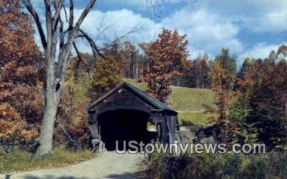 Covered Bridge, Black River - Amsden, Vermont VT Postcard