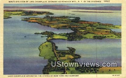 Adirondack Mtns - Lake Champlain, Vermont VT Postcard