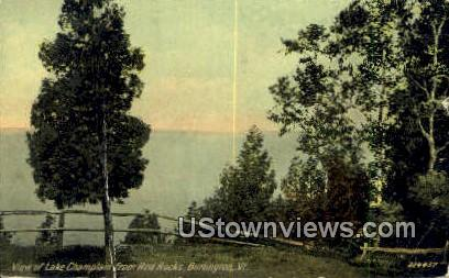 Lake Champlain, Red Rocks - Burlington, Vermont VT Postcard
