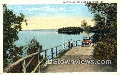 Lake Champlain - Red Rocks, Vermont VT Postcard