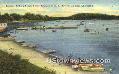 Bayside Bathing Beach & Boat Landing - Malletts Bay, Vermont VT Postcard