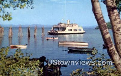 MV Adirondack, Ferry Crossing - Lake Champlain, Vermont VT Postcard
