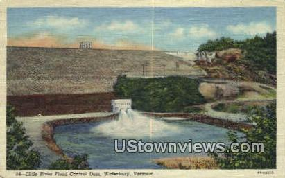 Little River Flood Control Dam - Waterbury, Vermont VT Postcard