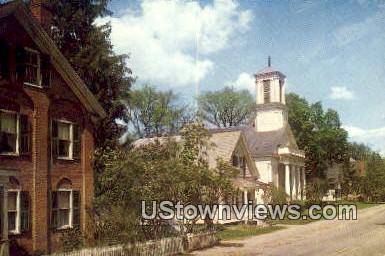 Church Street, Universalist Church - Woodstock, Vermont VT Postcard