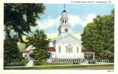 Congregational Church - Woodstock, Vermont VT Postcard