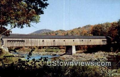 Covered Bridge over West River - West Dummerston, Vermont VT Postcard