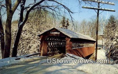 Old Covered Chiselville Bridge - East Arlington, Vermont VT Postcard