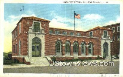 New Post Office - Bellows Falls, Vermont VT Postcard