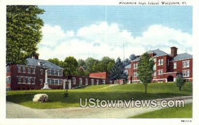 Woodstock High School - Vermont VT Postcard