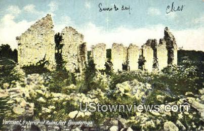 Exterior of Ruins, Fort Ticonderoga - Vermont VT Postcard