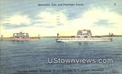 Streamline Auto & Passenger Ferries - Burlington, Vermont VT Postcard