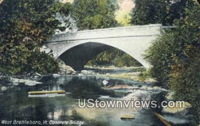 Concrete Bridge - West Brattleboro, Vermont VT Postcard