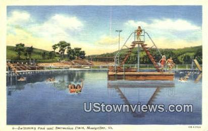 Swimming Pool & Rec Field - Montpelier, Vermont VT Postcard