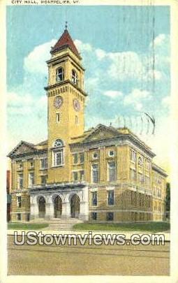 City Hall - Montpelier, Vermont VT Postcard