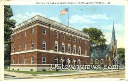 Post Office, All Souls Church - Brattleboro, Vermont VT Postcard