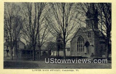 Lower Main Street - Cambridge, Vermont VT Postcard