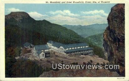 Mt Mansfield, Hotel Mansfield - Green Mountains, Vermont VT Postcard