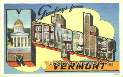 Greetings from Vermont - Montpelier Postcard