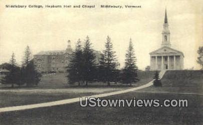Middlebury College, Hepburn Hall & Chapel - Vermont VT Postcard