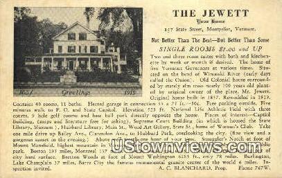 The Jewett - Montpelier, Vermont VT Postcard