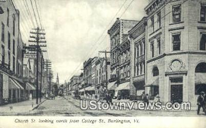 Church St, College St - Burlington, Vermont VT Postcard