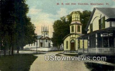 ME & Zion Churches - Manchester, Vermont VT Postcard