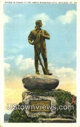 Statue in honor of Green Mountain Boys - Rutland, Vermont VT Postcard
