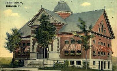 Public Library - Randolph, Vermont VT Postcard