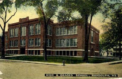 High School - Randolph, Vermont VT Postcard