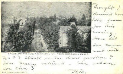Randolph Avenue - Vermont VT Postcard