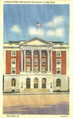 Post Office - Rutland, Vermont VT Postcard