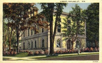 Library - Rutland, Vermont VT Postcard