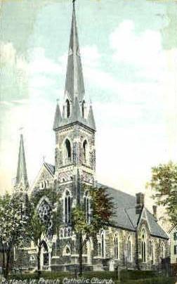 French Catholic Church - Rutland, Vermont VT Postcard
