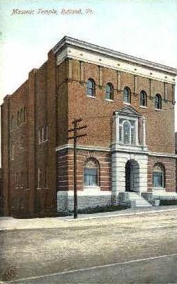 Masonic Temple - Rutland, Vermont VT Postcard
