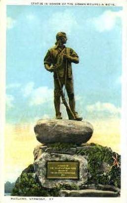 Green Mountain Boys Statue - Rutland, Vermont VT Postcard