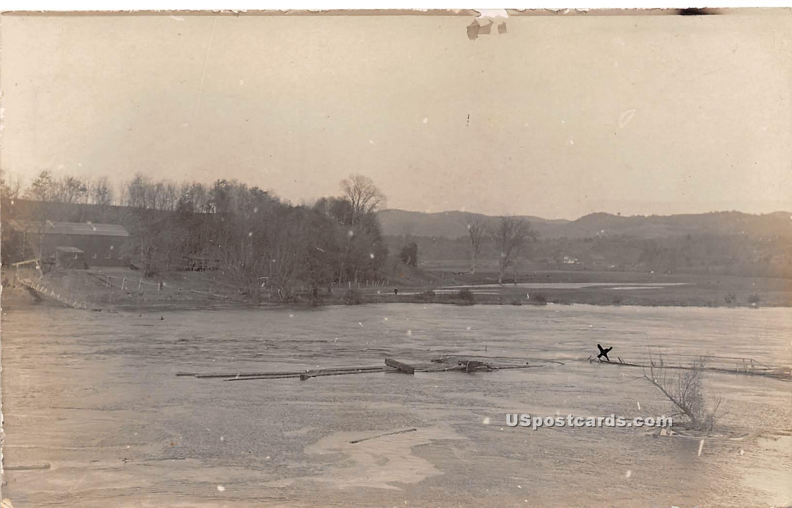 Footbridge Submerged - Rumerston, Vermont VT Postcard