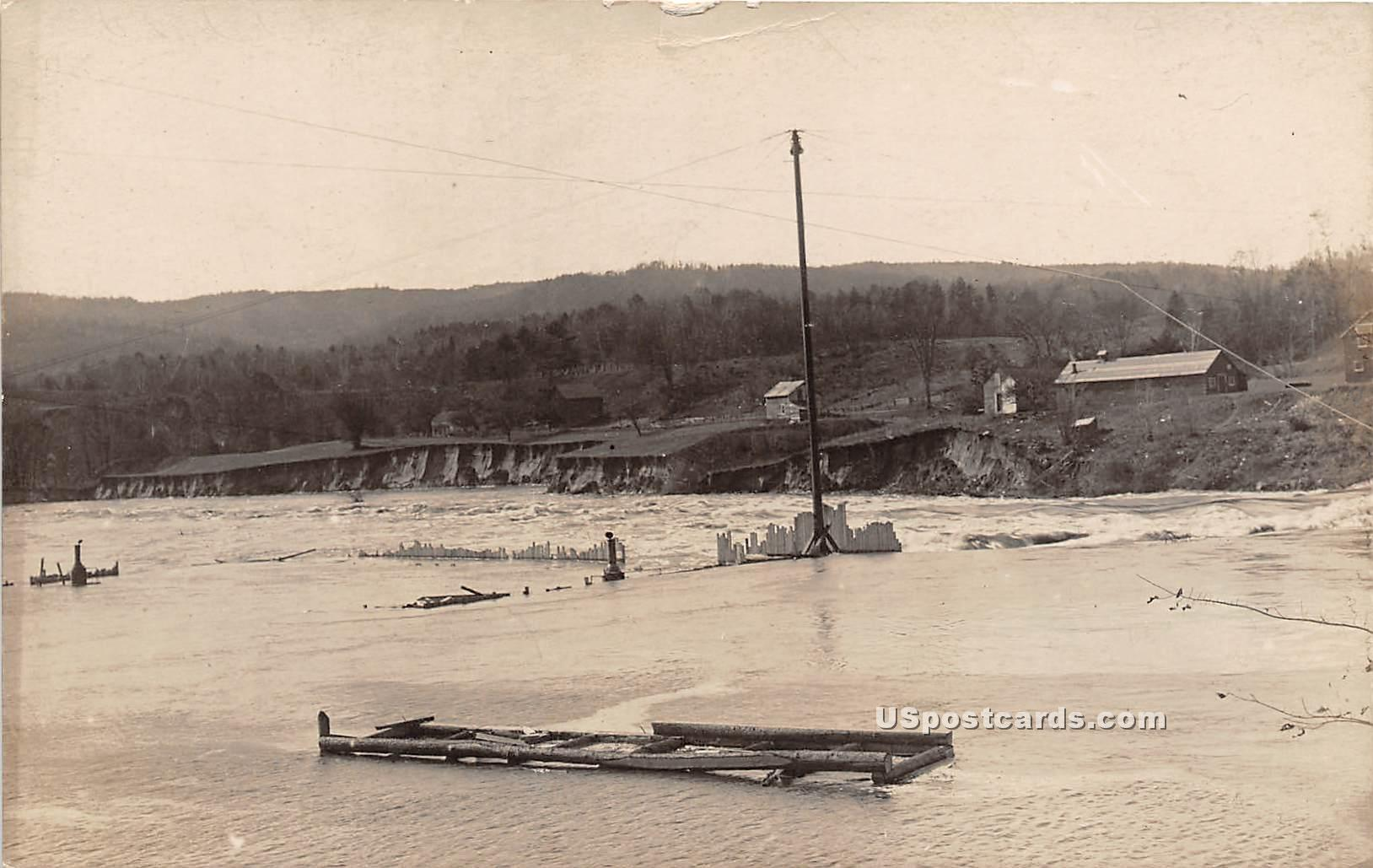 High Water at Dam - Rumerston, Vermont VT Postcard