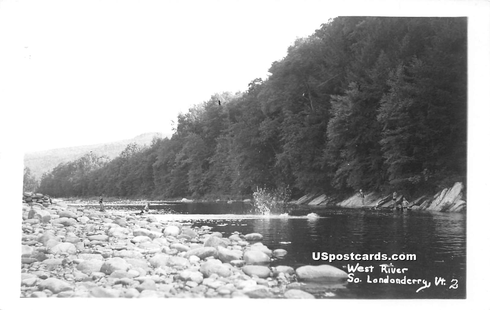 West River - South Londonderry, Vermont VT Postcard