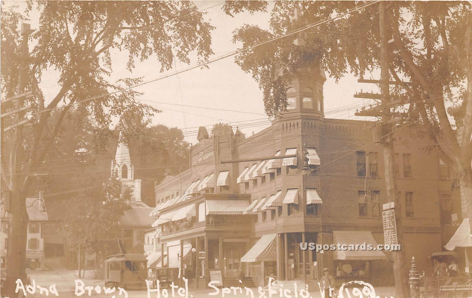 Adna Brown Hotel - Springfield, Vermont VT Postcard