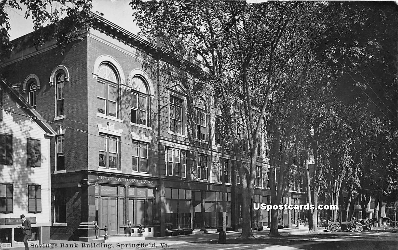 Savings Bank Building - Springfield, Vermont VT Postcard