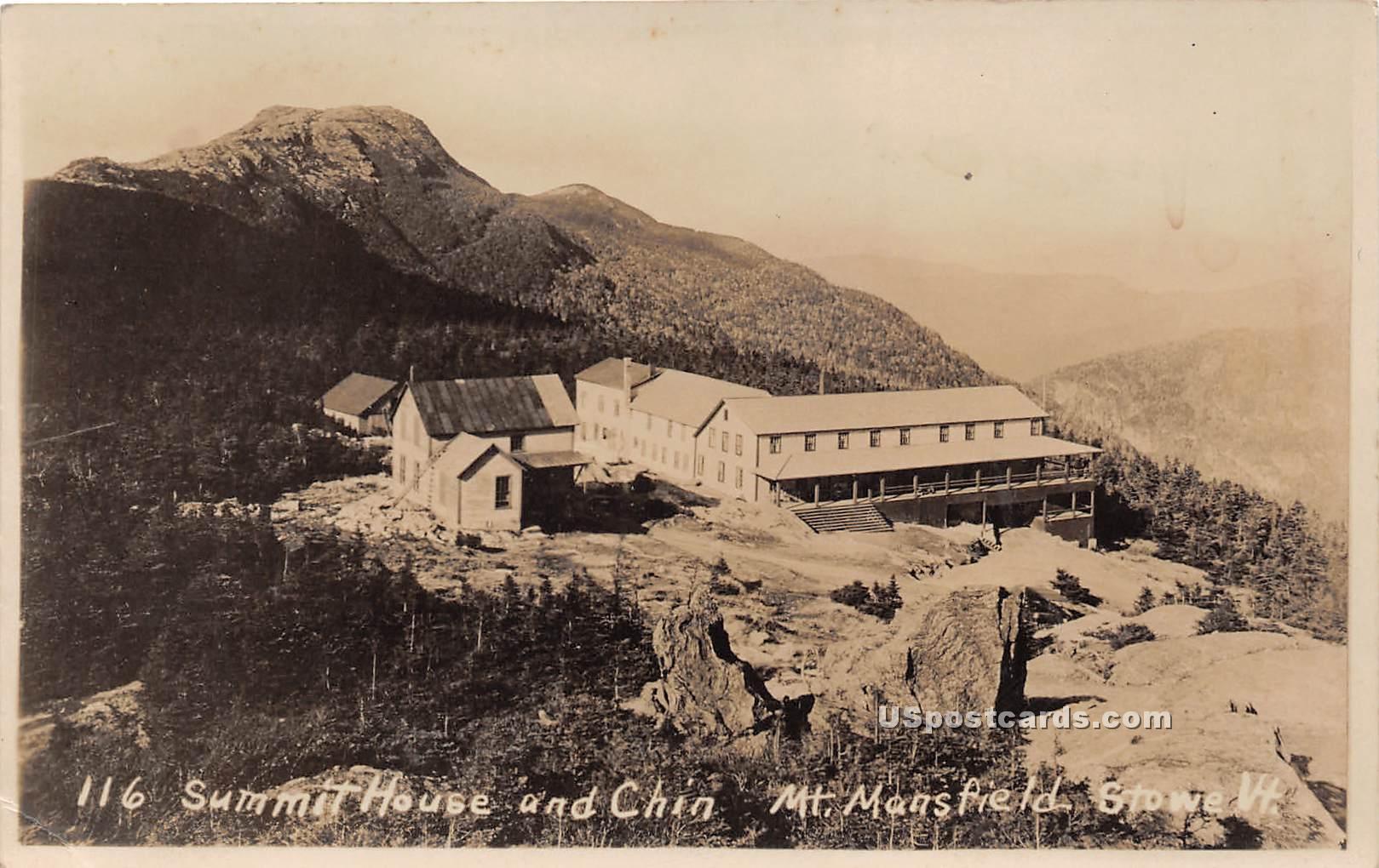 Summit House & Chin - Stowe, Vermont VT Postcard