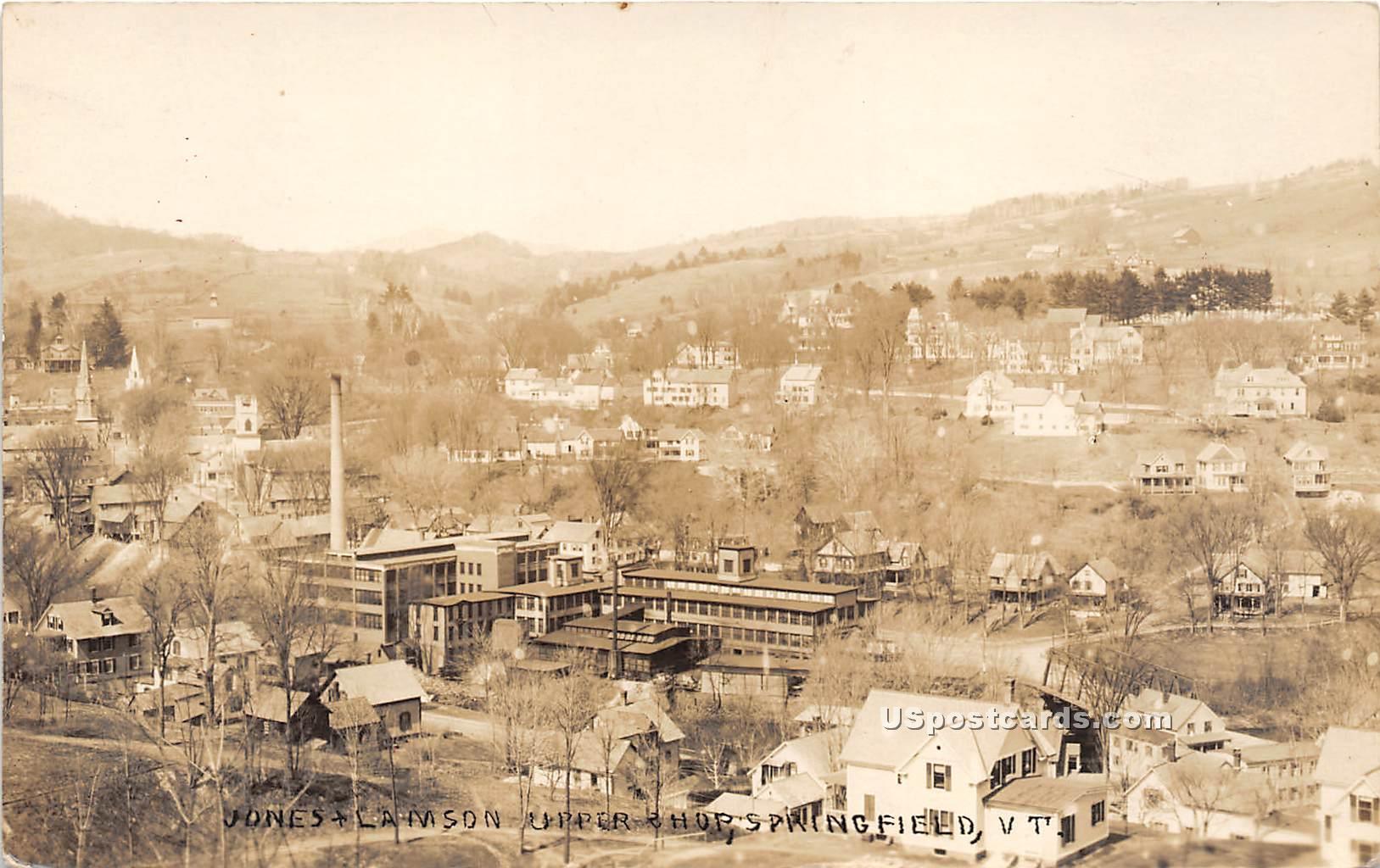 Jones & Camson Upper Shops - Springfield, Vermont VT Postcard
