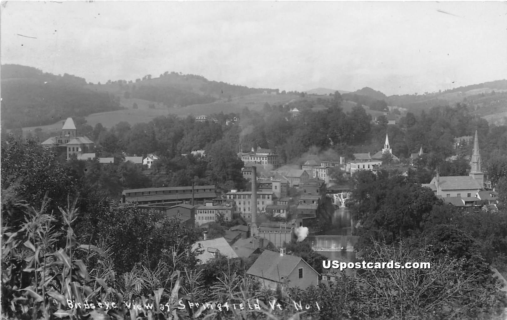 Birdseye View - Springfield, Vermont VT Postcard